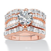4.07 TCW CZ Rose Gold-Plated .925 Silver 3-Pc. Bridal Ring Set - $99.99