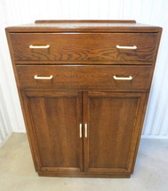 Antique Art Deco Tiger Oak Highboy Chest of Drawer Dresser Linen Press T... - $296.95