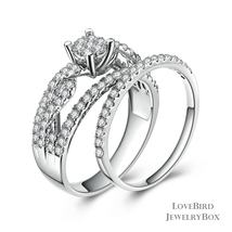 Cluster Infinity 925 Sterling Silver Cubic Zirconia Engagement Ring Set - $54.48