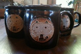 Cat Mug Set (3) Embossed Brownware Green Ears Vintage Brown Pottery - $35.00