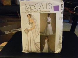 McCall's M4776 Misses Wedding Gowns & Lace Shrug Pattern - Size 12 & 14 - $7.13
