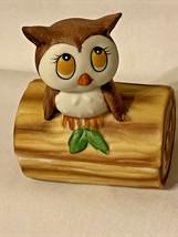 Lefton Baby Owl Trinket Box Sitting On Log Ceramic #2319 - $10.50