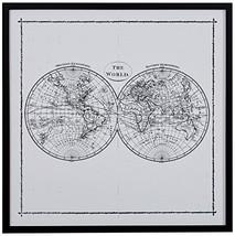 Rivet World Map Hemisphere Print in Black and White Vintage Wall Art, Black Fram