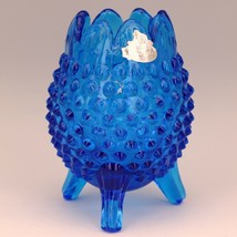 Vintage Fenton Art Glass Colonial Blue Hobnail 3 Foot Egg Shape Vase