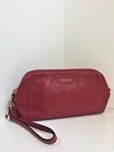 Coach Red Scarlet Leather Wristlet 49997 Madison Zip Top Wallet Bag B22 - $93.84