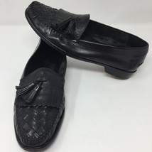 Cole Haan Mens Black Woven Leather Loafers Shoes Sz 10.5 Slip On Casual - $52.76