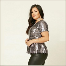 Silver Sequin Scoop Neck Short Sleeve Flare Victorian Waist Long Plus Size Top image 2
