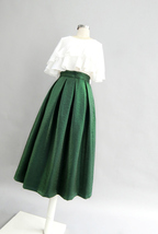 Emerlad Green Midi Party Skirt Outfit Glitter A-line Midi Skirt High Waisted image 3