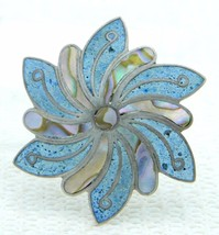 VTG Sterling Silver .925 TAXCO LRM Turquoise Abalone Shell Inlay Flower ... - $59.40