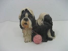 Vintage Resin Shih Tzu Dog Piggy Coin Bank Black & White with Ball of Pi... - $14.80