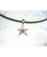 FUN ROCKER SHAPED METAL STAR w RED CRYSTAL PEWTER PENDANT ADJ NECKLACE - $7.99