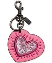 NWT Coach Keith Haring  Hang Tag Bag Charm Key Fob heart pink sequins - $99.99