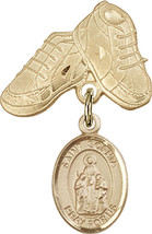 14K Gold Filled Baby Badge with St. Sophia Charm and Baby Boots Pin 1 X 5/8 inch - $102.90