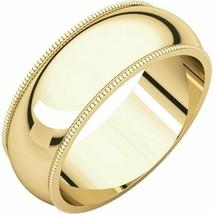 Fine 10k Yellow Gold 7 mm High Polished Traditional Milgrain Wedding Ban... - $178.20+