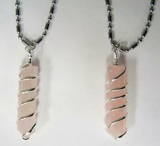 2 LOT ROSE QUARTZ CRYSTAL COIL WRAPPED STONE STAINLESS STEEL BALL CHAIN ... - $9.45