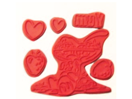 Crafter's Companion Strawberry Kisses Yum Rubber Cling Stamp Set #STBK-YU-EZ image 2