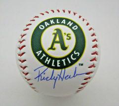 RICKEY HENDERSON / MLB HALL OF FAME / AUTOGRAPHED A'S LOGO OML BASEBALL / COA image 1