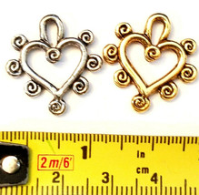 HEART WITH SWIRLS FINE PEWTER PENDANT CHARM image 2