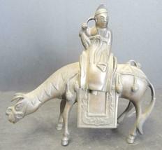 Antique Chinese Two Piece Bronze Censer - Elder Riding Horse - $94.99