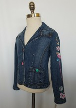 Guess Girls Denim Jean Jacket Floral Embroidered Sequin Size 6X NWT - $29.99
