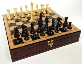 "Black & Nat 3 3/4"" Anderssen Staunton Wood Chess Set Walnut Color Storag... - $210.00"