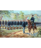 US ARMY in 1899 Infantry Field Equipment Troops Review Flag - COLOR Lith... - $13.49