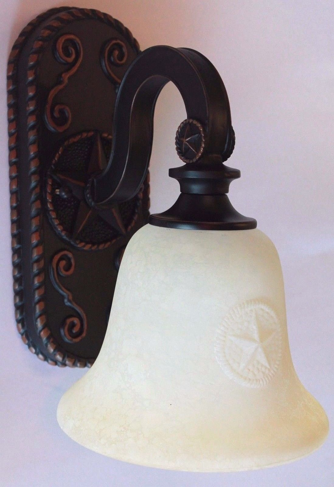 Texas Star Bronze Sconce Stamped Shade Brown Country Bathroom Wall Light