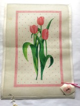 "Pink Tulips Needlepoint Hand Painted Canvas 18 1/2"" x 13"" - $27.58"