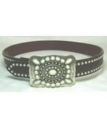 "SSM Western Ladies 35"" Belt Brown Leather Opalescent Studs Stones Silver... - $21.99"