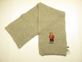 Polo Ralph Lauren Knit Grey Scarf w/ Embroidered Comfortably Dressed Bea... - $69.25