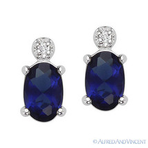 Faux Sapphire & Faux Diamond Stud .925 Sterling Silver Earrings Fashion ... - $23.99