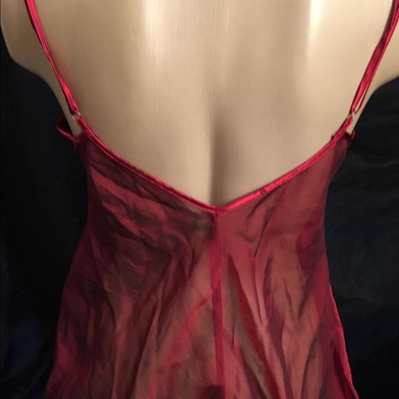 Fredericks of Hollywood Red floral bodice sheer satin short sleep dress M NEW