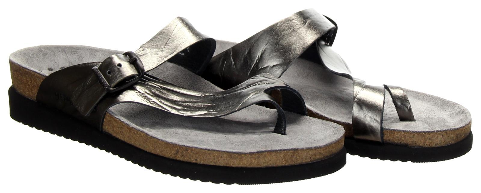 Mephisto Helen Water-Repellent Nubuck Slip-on Sandals Silver Sz 39 New