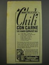 1945 Gebhardt's Eagle Chili Powder Advertisement - deliious chili con carne - $14.99