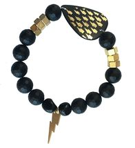 Electric Picks Gold Glimmer Thunder Bolt and Nuts Hardware Black Onyx Bracelet image 3
