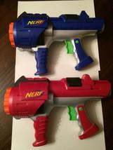 Nerf Dart Tag 2 Guns Red Blue Hasbro 2005 Good Condition - $18.69
