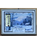 Winter Snow Vintage Advertising Thermometer Picture Souvenir Wetzel Truc... - $29.39