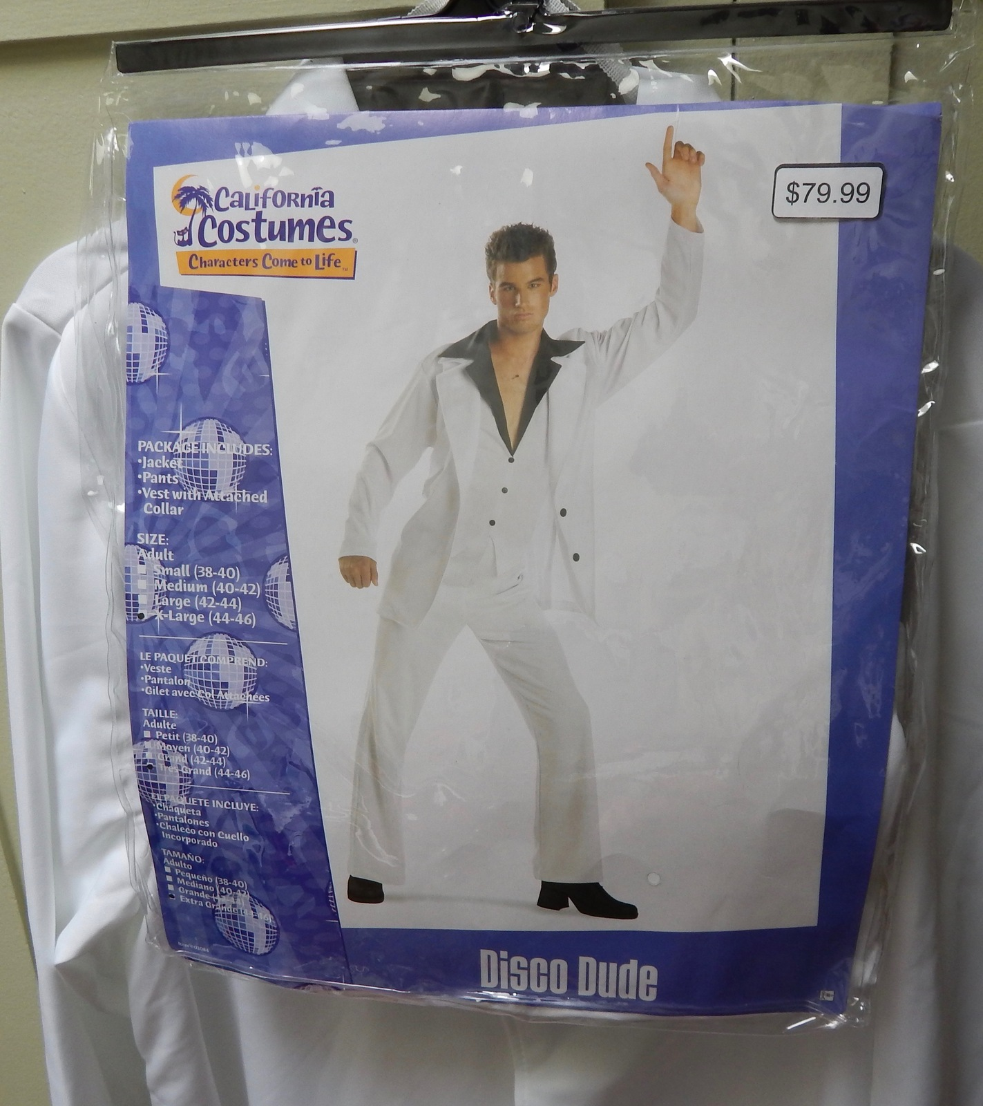 California Costumes Disco Dude Saturday Night Fever White Suit Adult 44 XL 119L