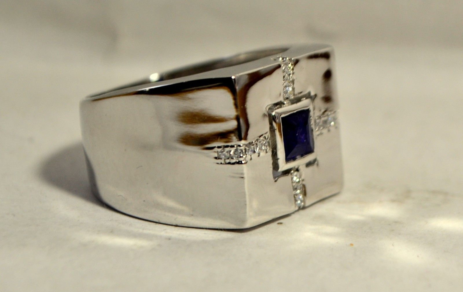925 Sterling Silver Natural Fine Quality Blue Sapphire And Cz Gemstone Handmade  image 3