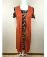 Lularoe XS S Carly Dress Joy Duster Vest Set Black Orange Purple Floral - $26.99