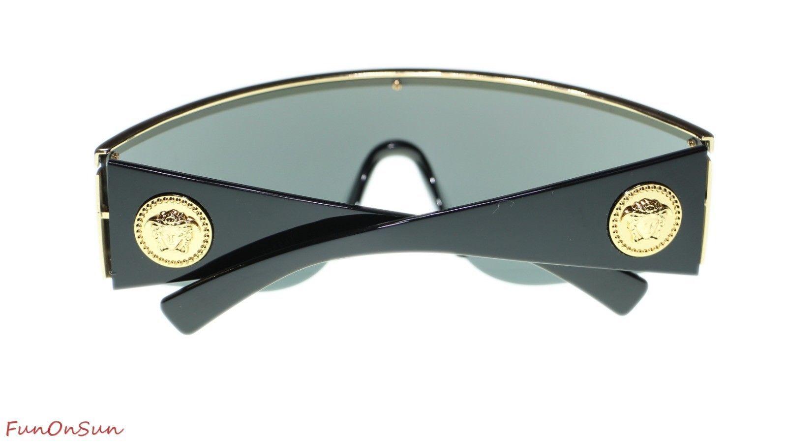 fb1aa00c746 Versace Unisex Sunglasses VE2197 10006G Gold Grey Mirror Silver Lens 40mm