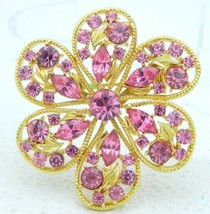 Pink Rhinestone Flower Gold Tone Brooch Pin Vintage - $24.75