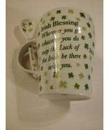 A Little Irish Luck Mug & Spoon Set  Irish Blessing Four Leaf Clover NWOT - $19.75
