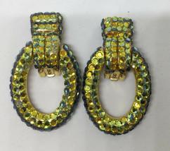 Clip On Earrings Oval Blue Green & Yellow Crystal Rhinestones Metal Pair... - $14.84
