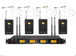 Pro UHF Wireless Headset Microphone System with 4 Omnidirectional Beige Mic - $395.01