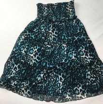 Speechless Turquoise Ruffle Skirt Sz M Girls 10-12 Stretch Animal Print ... - $23.75