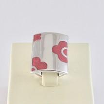 Ring A Band aus Silber 925 Rhodium mit Politur Pink Geformt Blumen image 2