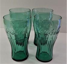 4 Coca Cola Coke Original Dark Green Contour 16 oz Drinking Glasses Soda... - $34.64