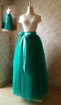 Womens Ruffle Maxi Tulle Skirt Floor Length Wedding Maxi Tulle Skirt GREEN Plus