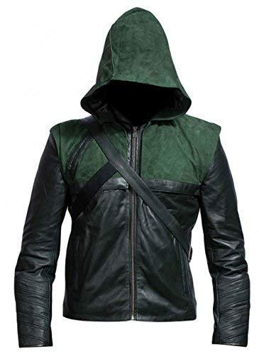 Green Arrow Stephen Amell Oliver Queen Hooded Costume Leather Jacket